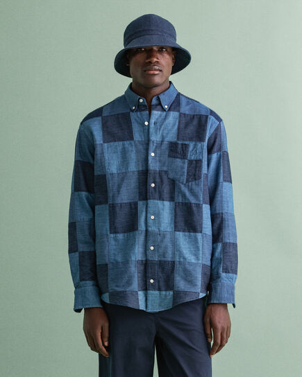 Relaxed Fit Indigo overhemd met patchwork