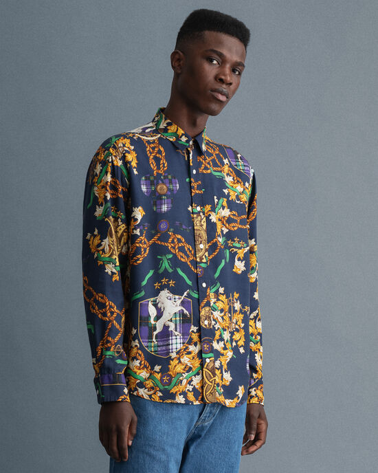Relaxed Fit lyocell overhemd met Chain-print