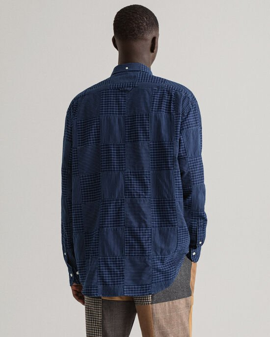 REMAKE Relaxed Fit Patchwork Indigo overhemd